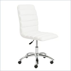 Eurostyle Jaleh Office Chair No Arms in White and Chrome