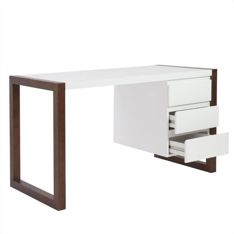 Eurostyle Manon Desk in White and Dark Walnut