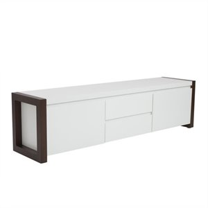 Eurostyle Manon Media Stand in White and Dark Walnut