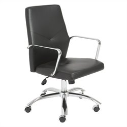 Eurostyle Napoleon Low Back Office Chair in Black and Chrome