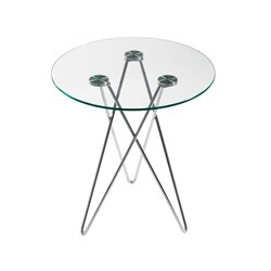 Eurostyle Zoey Round Side Table in Clear Tempered Glass
