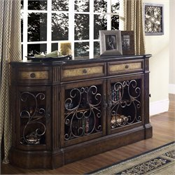 Pulaski Carmel Granite Top Sideboard in Brown