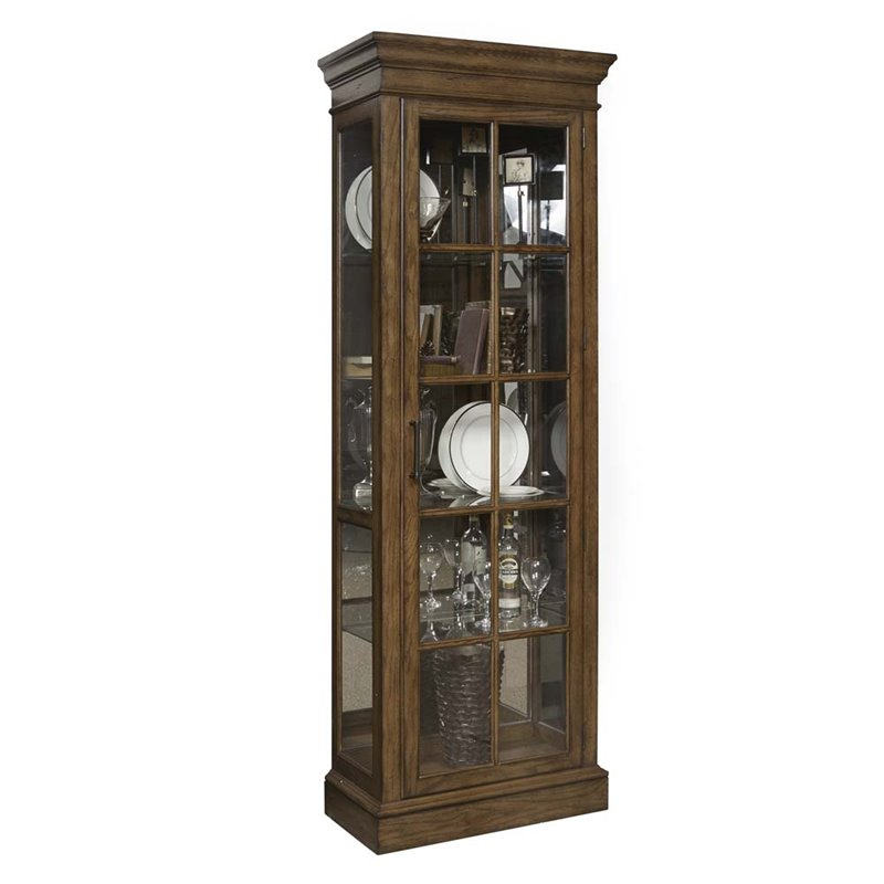 Pulaski Pemberly Mirrored Famed Door Curio Cabinet In
