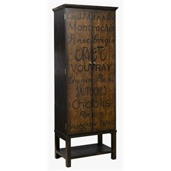 Pulaski Hand Painted Tall Wine Cabinet in Brown