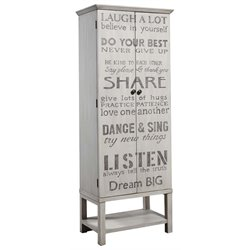 Pulaski Grandma's Hand Painted Words of Wisdom Wine Cabinet in Gray