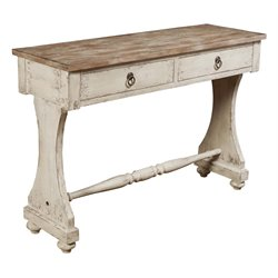 Pulaski Emma Two Tone Drawer Console Table in Weathered White