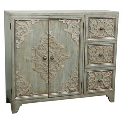 Pulaski Sula Carved Door Bar Cabinet in Rustic Green