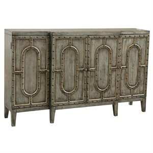 Pulaski Mariella Industrial Breakfront Bar Cabinet in Distressed Green