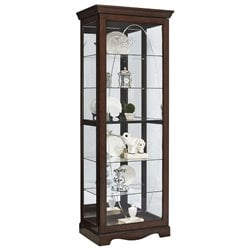 Pulaski Oval Etched Sliding Front Door Curio Cabinet in Harley Brown
