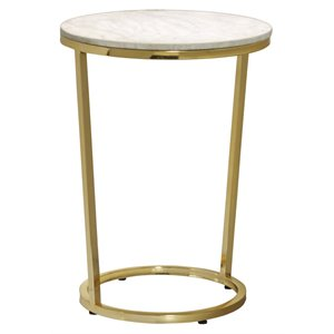 Pulaski Emory Marble Top Round Accent Table in Gold