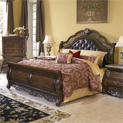 MER-1242 Birkhaven Leather Tufted Sleigh Bed in Mocha Brown