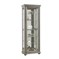 Pulaski Gray Sliding Door Curio in Gray