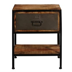 Pulaski Accentrics Home Industrial Metal and Wood End Table in Brown