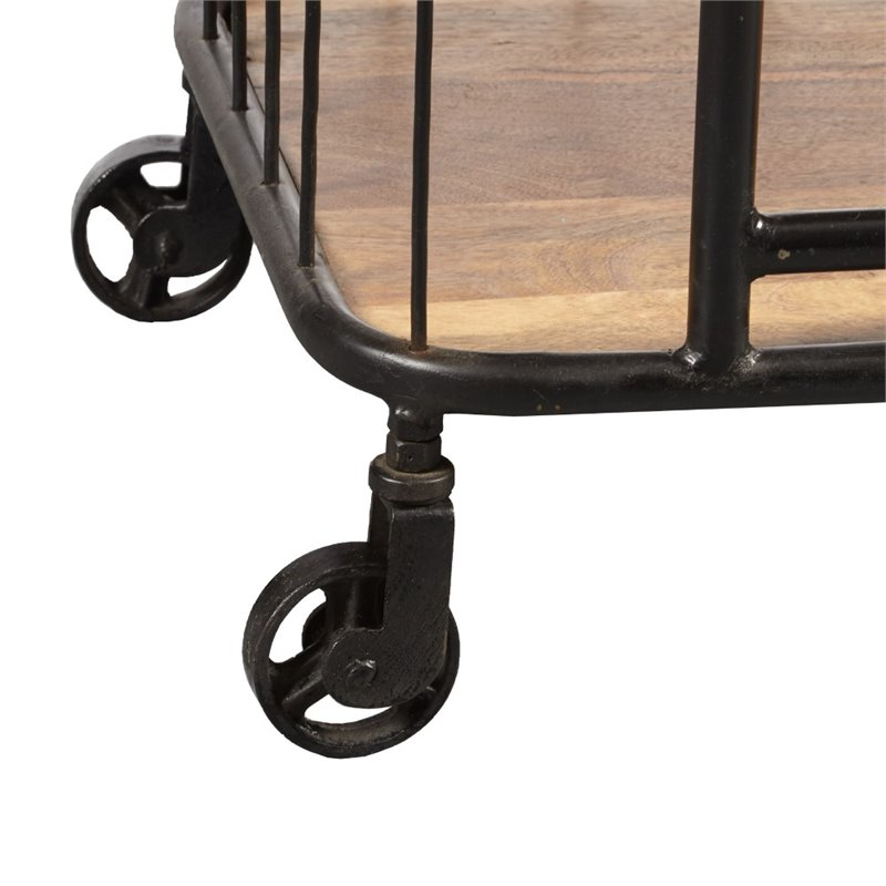 Pulaski Accentrics Home Industrial Bar Cart in Black and Oak