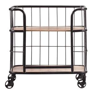 Pulaski Accentrics Home Industrial Wood and Metal Bar Cart in Brown