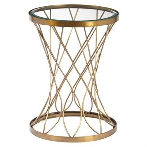 Pulaski Accentrics Home Round Accent Table with Glass Top in Gold