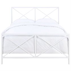 Pulaski Queen Metal Bed in White