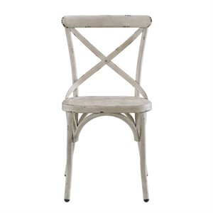 Pulaski Metal Dining Chair in Distressed Antique White
