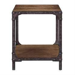 Pulaski Irwin Wood and Metal End Table in Brown