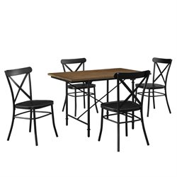 Pulaski 5 Piece Industrial Wood and Metal Dining Set in Multi