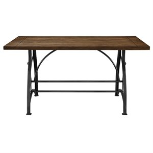 Pulaski Rosebank Wood and Metal Dining Table in Brown