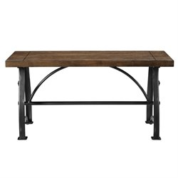 Pulaski Rosebank Wood and Metal Dining Bench in Brown