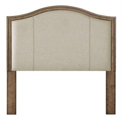 Pulaski Camel Back Upholstered Queen Panel Headboard in Brown