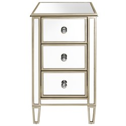 Pulaski Mirrored End Table with Gold Trim in Silver