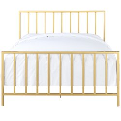Pulaski All-In-One Slat Style Queen Metal Bed in Gold
