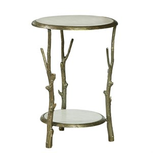 Pulaski Brady Round Marble Top Accent Table in Gold