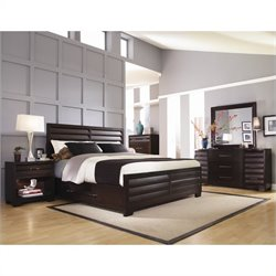 Pulaski Tangerine 330 Panel Storage Bed 5 Piece Bedroom Set in Sable