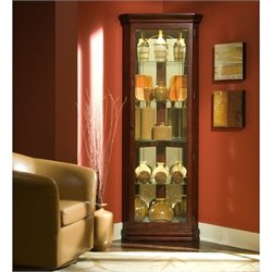 Pulaski Curios Five Shelf Corner Cabinet in Victorian Cherry