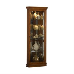 Pulaski Golden Oak Mirrored Corner Curio in Brown