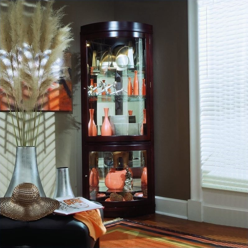 Chocolate Cherry Curved Corner Curio Cabinet