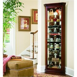 Pulaski Curios Nine Shelf Corner Cabinet in Victorian Cherry