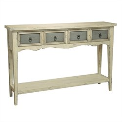 Pulaski 4 Drawer Console in White and Blue
