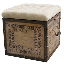 Pulaski Ottoman with Storage in Natural