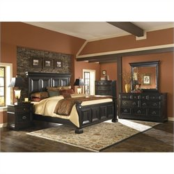 Pulaski Brookfield 6 Piece Panel Bed Set in Ebony Finish