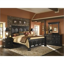 Pulaski Brookfield 5 Piece Panel Bed Set in Ebony Finish