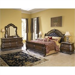 Pulaski Birkhaven 5 Piece Sleigh Bed Set in Mocha Finish