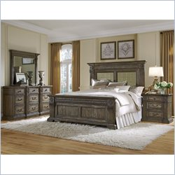 Pulaski Arabella Panel Bed with Dresser Mirror and Nightstand 4 Pc Set
