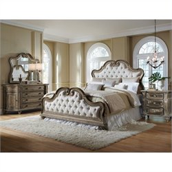 Pulaski Arabella UPH Bed with Dresser Mirror and Nightstand 4 Pc Set