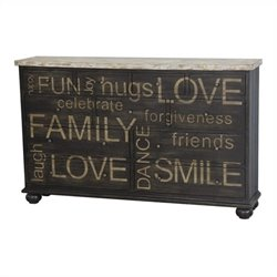 Pulaski Accents Credenza in Distressed Brown and Antiqued White