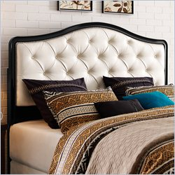 Pulaski Tufted King Size Panel Headboard in Black and Pearl