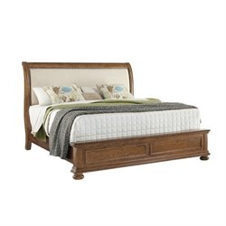Pulaski Paxton Upholstered Bed in Medium Wood - California King