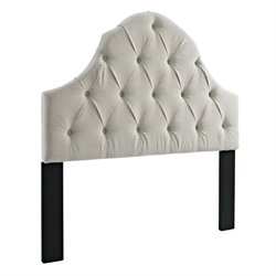 Pulaski Round Top Upholstered Full or Queen Panel Headboard in White