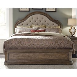 Pulaski Aurora Queen Upholstered Panel Bed in Pecky Pecan