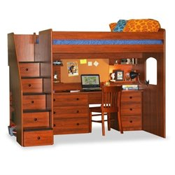 Berg Furniture Utica Full Loft Bed with 5 Drawer Staircase