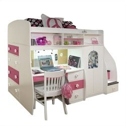 Berg Furniture Play and Study Twin Loft Bed with Desk