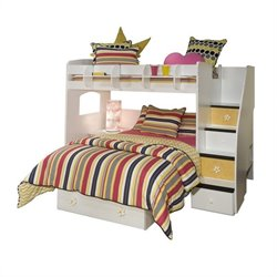 Berg Furniture Utica Twin Over Full Loft Bunk Bed with Storage Stairs